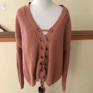 885858ebac miracle USA Sweaters - Light Pink Miracle USA Lace Up Comfy Sweater S M